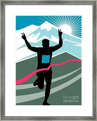 Marathon Race Victory Framed Print by Aloysius Patrimonio