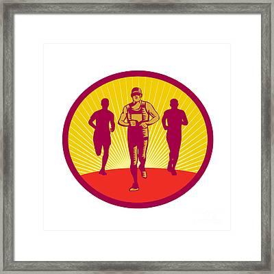 Marathon Runner Circle Woodcut Framed Print