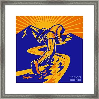 Marathon Runner Or Jogger On Mountain Road  Framed Print