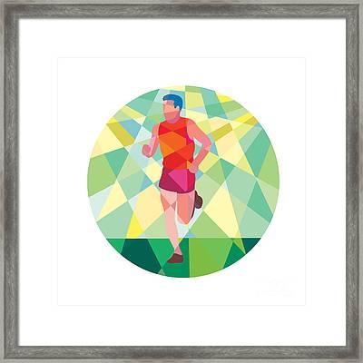 Marathon Runner Running Circle Low Polygon Framed Print