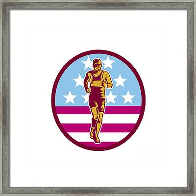 Marathon Runner Usa Flag Circle Woodcut Framed Print