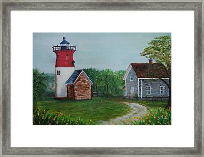 Framed Print featuring the painting Marbelhead Lighthouse by Debbie Baker