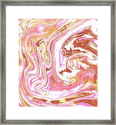 Marble And Rose Gold Dust Framed Print