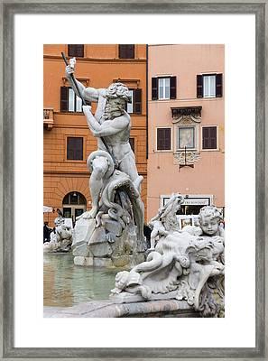 Marble Muscles - Fountain Of Neptune Piazza Navona Rome Italy Framed Print by Georgia Mizuleva