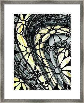 Marbled - Gray And Yellow Flower Art By Sharon Cummings Framed Print