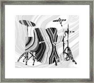 Marbled Music Art - Drums - Sharon Cummings Framed Print by Sharon Cummings