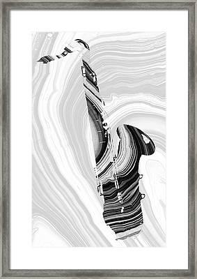 Marbled Music Art - Saxophone - Sharon Cummings Framed Print