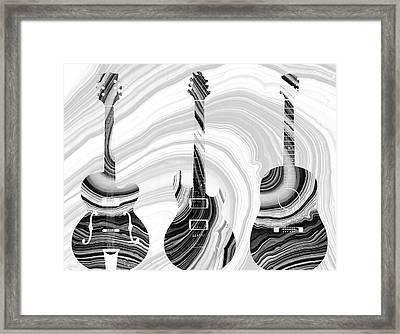 Marbled Music Art - Three Guitars - Sharon Cummings Framed Print