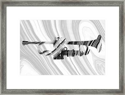 Marbled Music Art - Trumpet - Sharon Cummings Framed Print by Sharon Cummings