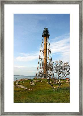Marblehead Light Framed Print by Michelle Wiarda