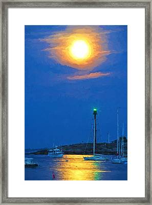 Marblehead Light Tower Supermoon Van Gogh Style Framed Print by Toby McGuire