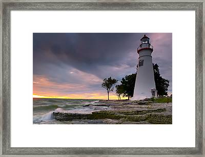 Marblehead Lighthouse At Sunrise Framed Print by At Lands End Photography