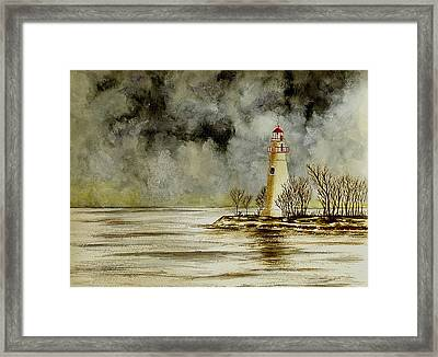 Marblehead Lighthouse In The Winter Framed Print by Michael Vigliotti