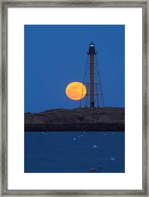 Marblehead Lighthouse Moonrise Framed Print by John Burk