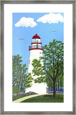 Marblehead Lighthouse Painting Framed Print by Frederic Kohli