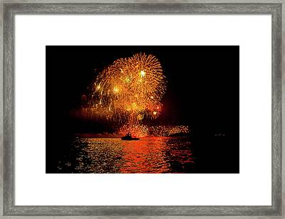 Framed Print featuring the photograph Marblehead Fireworks by Jeff Folger
