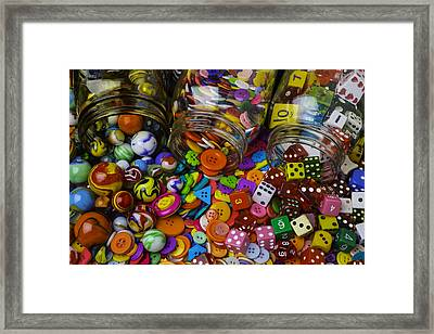 Marbles Buttons Dice Framed Print by Garry Gay