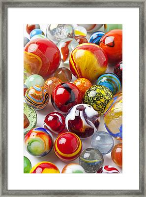 Marbles Close Up Framed Print by Garry Gay
