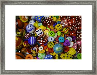 Marbles Dice Buttons Assortment Framed Print by Garry Gay
