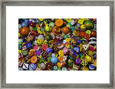 Marbles Dice Buttons Collection Framed Print by Garry Gay