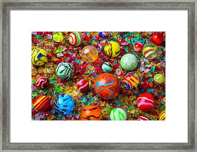 Marbles On Crushed Glass Framed Print by Garry Gay