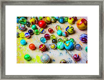 Marbles On Old Table Framed Print