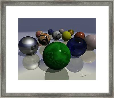 Framed Print featuring the digital art Marbles by Walter Chamberlain