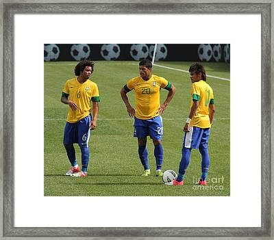 Marcelo Hulk And Neymar Framed Print by Lee Dos Santos