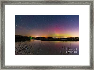 March 6 Aurora Over Scarborough Marsh  Framed Print