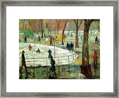 March Day Washington Square Framed Print by William Glackens