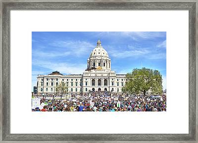 Framed Print featuring the photograph March For Science  Minnesota 2017 by Jim Hughes