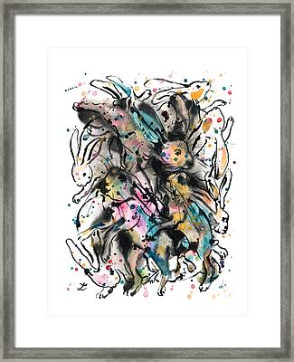 March Hares Framed Print