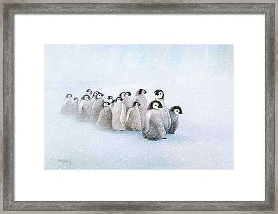 Framed Print featuring the digital art March Of The Penguins by Thanh Thuy Nguyen