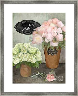 Framed Print featuring the painting Marche Aux Fleurs 2 - Peonies N Hydrangeas by Audrey Jeanne Roberts