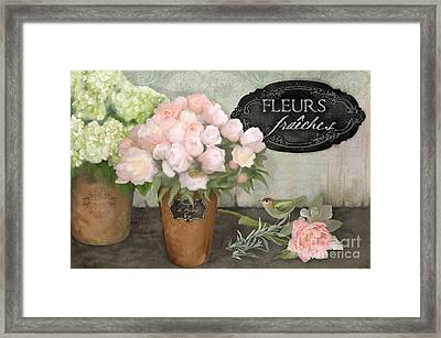 Framed Print featuring the painting Marche Aux Fleurs 2 - Peonies N Hydrangeas W Bird by Audrey Jeanne Roberts