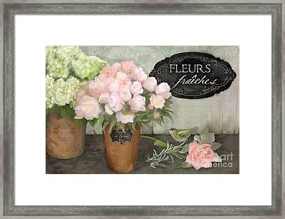 Marche Aux Fleurs 2 - Peonies N Hydrangeas W Bird Framed Print