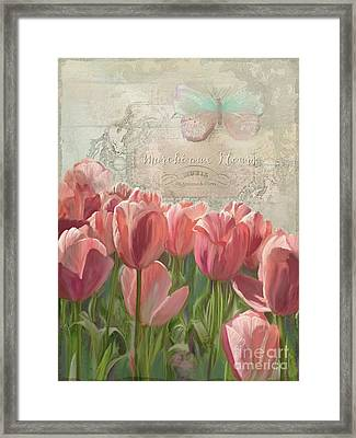 Marche Aux Fleurs 3 - Butterfly N Tulips Framed Print by Audrey Jeanne Roberts