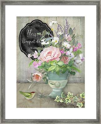 Framed Print featuring the painting Marche Aux Fleurs 3 Peony Tulips Sweet Peas Lavender And Bird by Audrey Jeanne Roberts