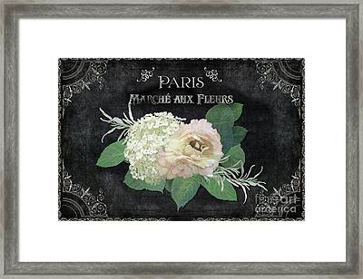 Framed Print featuring the painting Marche Aux Fleurs 4 Vintage Style Typography Art by Audrey Jeanne Roberts