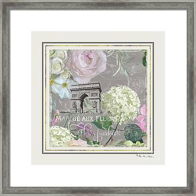 Framed Print featuring the painting Marche Aux Fleurs Vintage Paris Arc De Triomphe by Audrey Jeanne Roberts