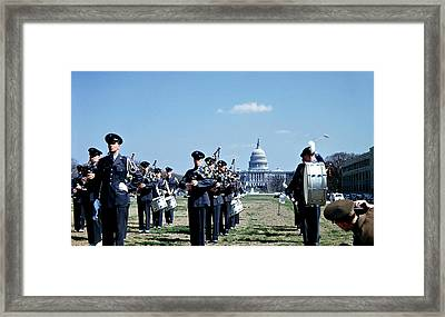 Marching Band At Capitol 1951 Framed Print by Marilyn Hunt