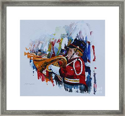Marching In The Independence Day Parade Framed Print by Peg Ott Mcguckin