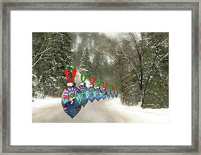 Framed Print featuring the photograph Marching Ornaments Chili Peppers by Lou Novick