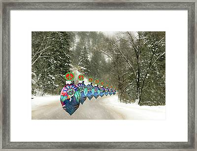 Framed Print featuring the photograph Marching Peace Ornaments by Lou Novick