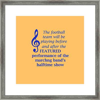Marching Performance Framed Print