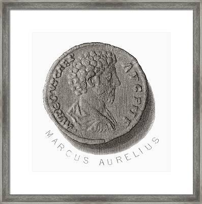 Marcus Aurelius, 121 Ad Framed Print by Vintage Design Pics