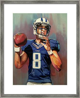 Marcus Mariota Rookie Year - Tennessee Titans Framed Print by Michael Pattison