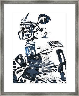 Framed Print featuring the mixed media Marcus Mariota Tennessee Titans Pixel Art by Joe Hamilton