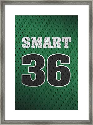 Marcus Smart Boston Celtics Number 36 Retro Vintage Jersey Closeup Graphic Design Framed Print