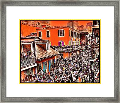 Mardi Gras - Bourbon Street Framed Print by AJ  Modiest